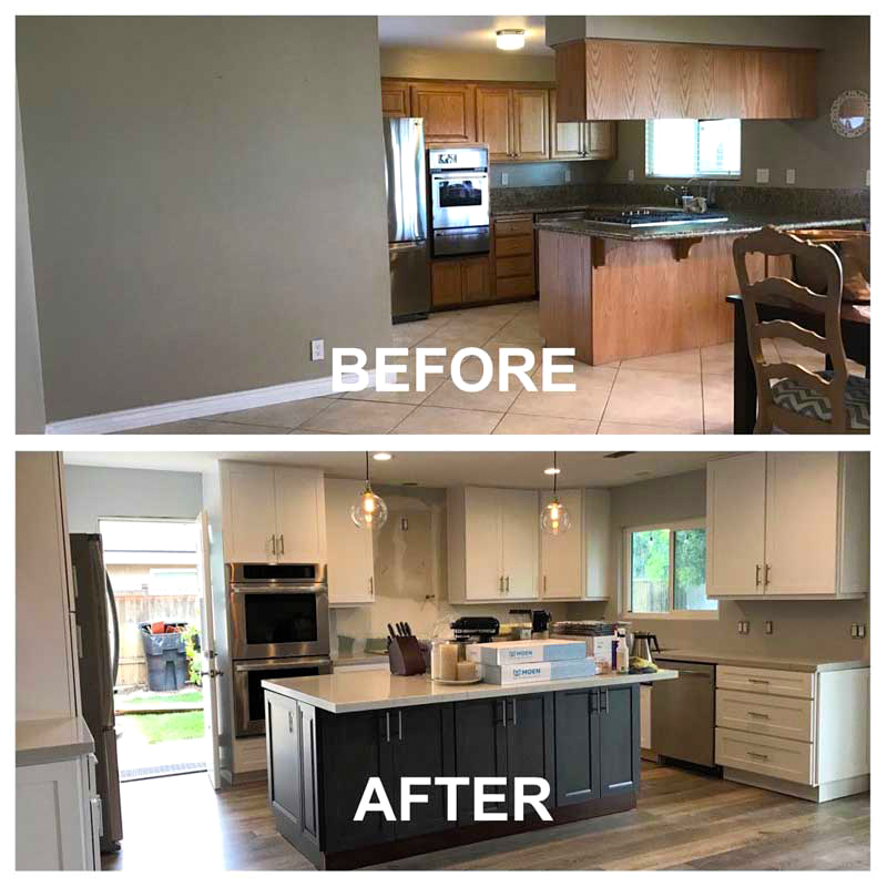 Kitchen renovation process: Before vs. after